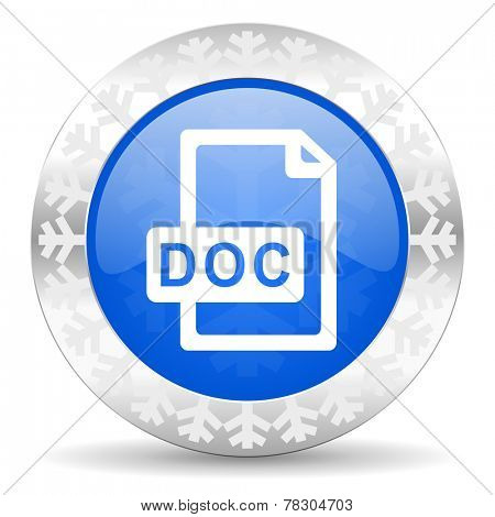 doc file blue icon, christmas button