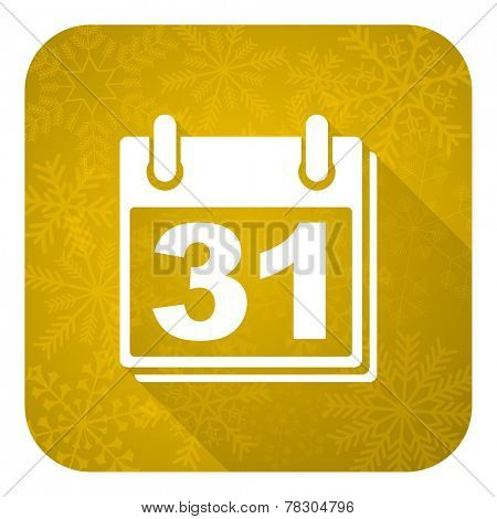 calendar flat icon, gold christmas button, organizer sign, agenda symbol