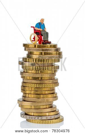 woman in wheelchair on money stack symbol photo for care allowance, health care costs