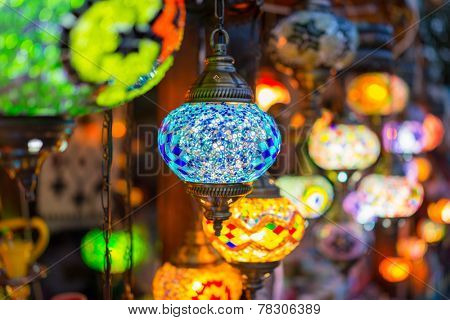 Beautiful colorful lanterns on street
