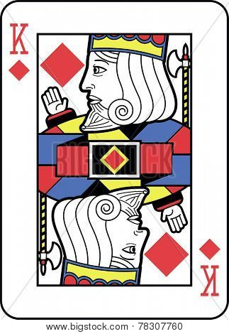 Stylized King of Diamonds with strong outline