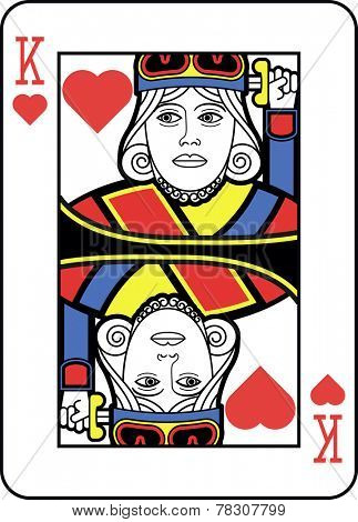 Stylized King of Hearts with strong line