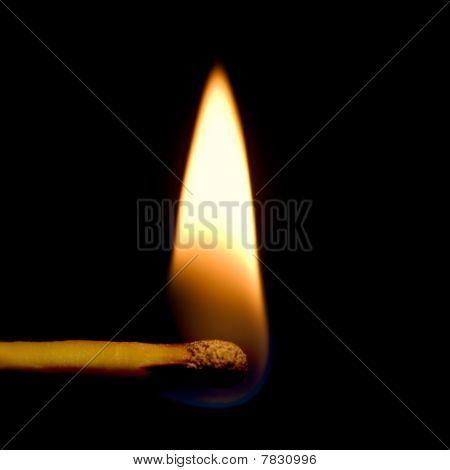 Burning Match Closeup Isolated On Black