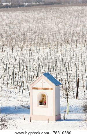 God''s torture near Hnanice with winter vineyard, Southern Moravia, Czech Republic