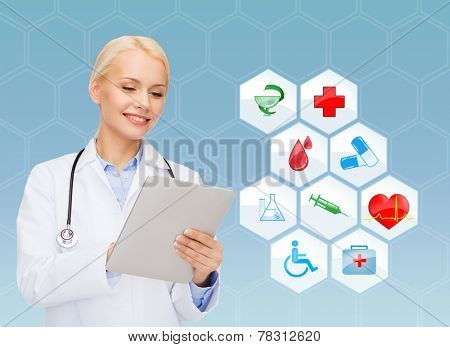 healthcare, medicine, people, technology and symbols concept - smiling young female doctor or nurse with tablet pc computer over medical icons and blue background