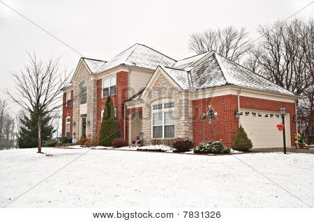 Suburban Neighborhood Brick Home