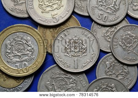 Coins of Morocco. Coat of arms of Morocco depicted in the Moroccan dirham coins.