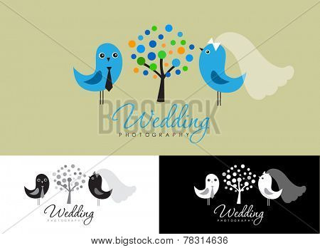 Vintage logo collection for wedding photographer. Cute logos with bride and groom, birds, trees and flowers.