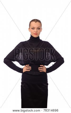young woman in black turtleneck sweater isolated on white