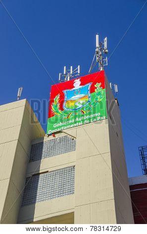 LA PAZ, BOLIVIA, MAY 8, 2014: The building of Departmental Government in La Paz