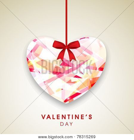 Happy Valentine's Day celebration greeting card with hanging stylish colorful heart.
