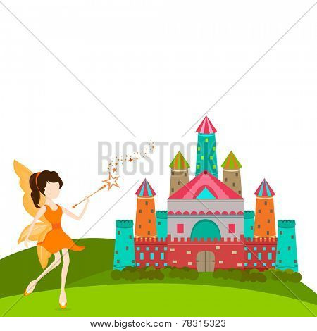 Young beautiful angel in orange dress with magic stick standing outside from colorful castle.