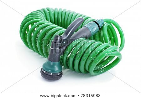 a garden hose with a sprayer pistol on a white background