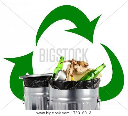 Recycling bins isolated on white, Recycle concept