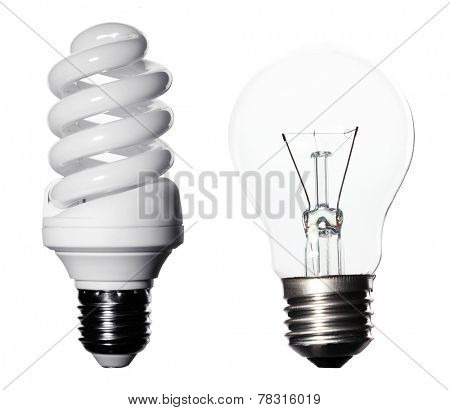 Light bulbs collage isolated on white