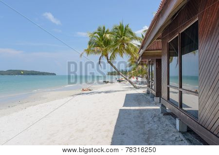LANGKAWI - APRIL 30: Resort area near beach on Langkawi Island on April 30, 2014 in Langkawi, Malaysia. Langkawi is an archipelago of 104 islands in the Andaman Sea