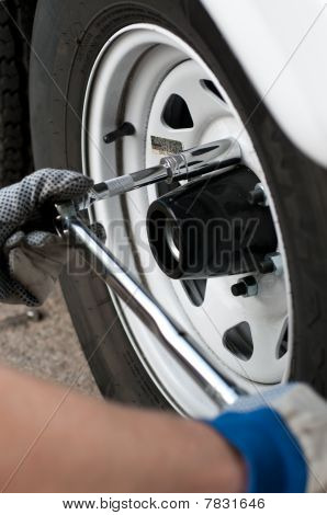 Torque Wrench Socket And Extension In Use