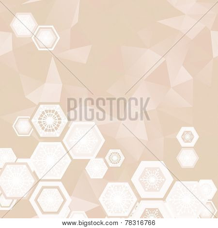 abstract beige background with snowflakes