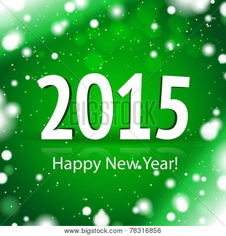 2015 Happy New Year card with green snowy background