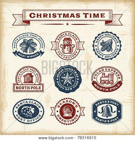 Vintage Christmas stamps set