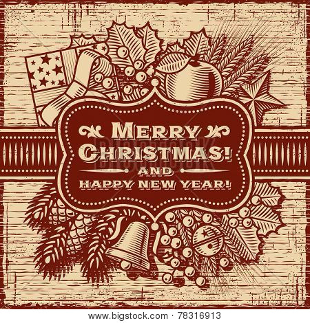 Merry Christmas Retro Card Brown
