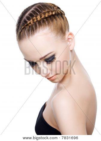Schöne Frisur der Pigtail