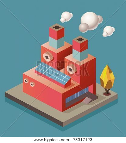 Manufacture Factory. isometric vector illustration