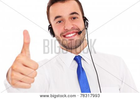 A picture of a happy teleworker showing ok sign over white background