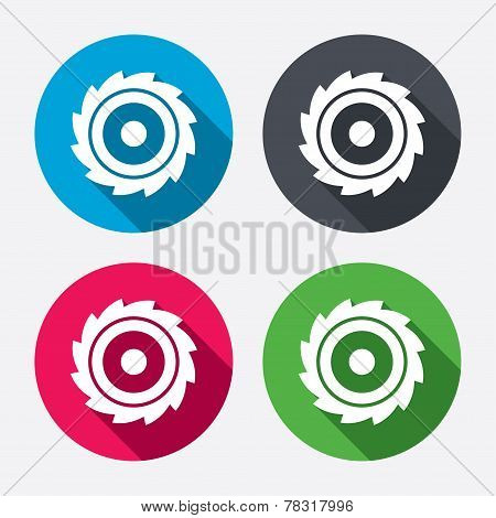 Saw circular wheel sign icon. Cutting blade.
