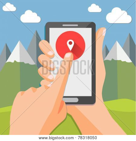 Smartphone geo check-in of mountain landscape - flat design