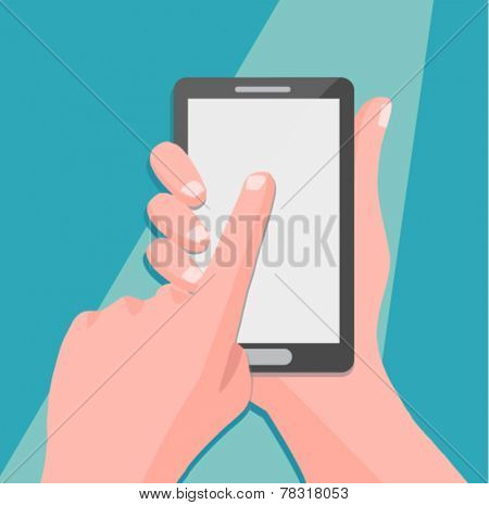 Hand holing smartphone, touching blank screen - flat design vector