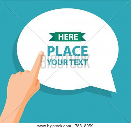 hand with pointing finger and bubble for text - flat design vector