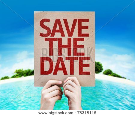 Save The Date card with a beach on background