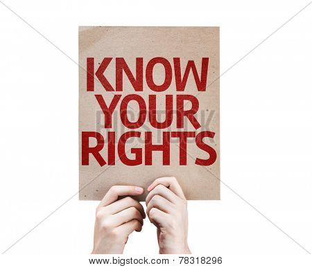 Know Your Rights card isolated on white background