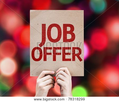Job Offer card with colorful background with defocused lights