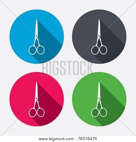 Scissors hairdresser closed icon. Tailor symbol.