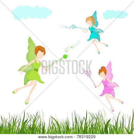 Young angels in colorful dresses with magic stick in their hand on nature view background.