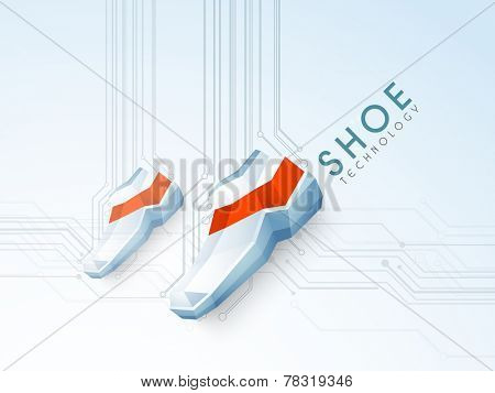 Shoe design with stylish text of Shoe Technology on stylish background.