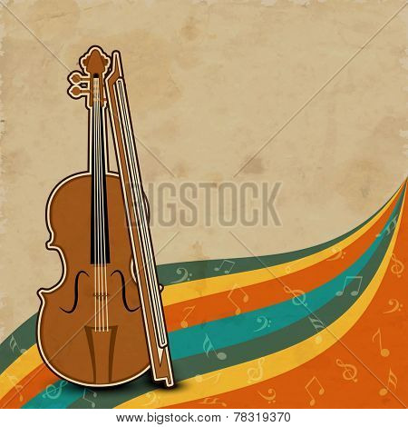 Colorful musical notes wave background with violin and bow.