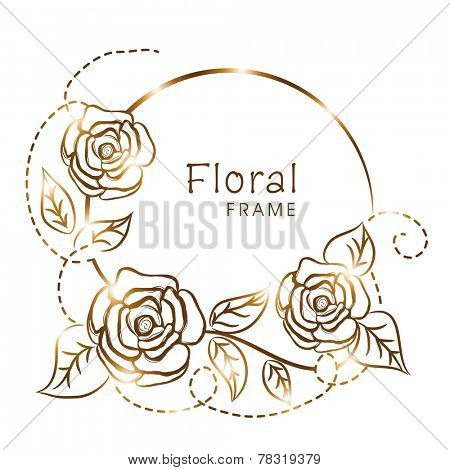 Shiny frame with vine of golden roses and leaves on white background.