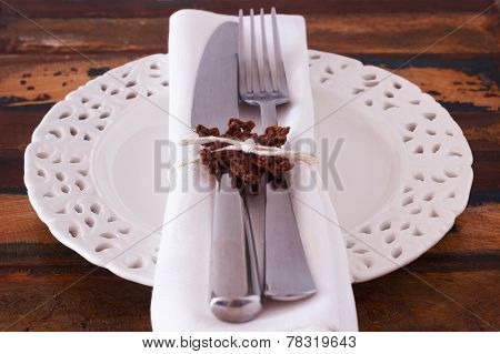 Christmas Decoration: White Plate Serviette Fork Knife With Handmade Brown Crochet Snowflake