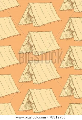 Sketch Touristic Tent In Vintage Style