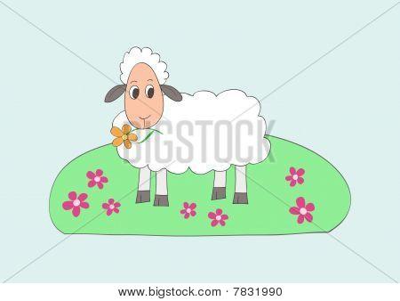 Child like drawing of little sweet sheep