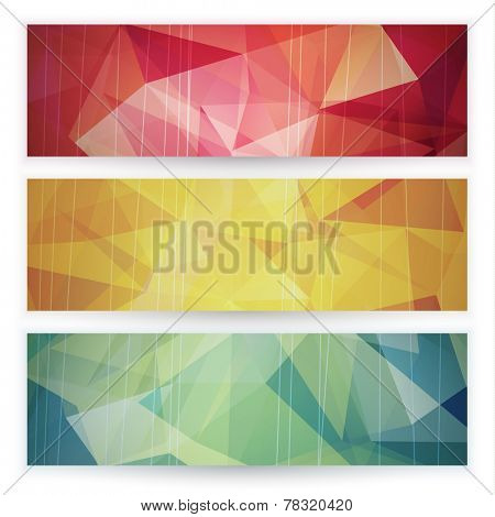 Abstract geometric triangular banners set - eps10