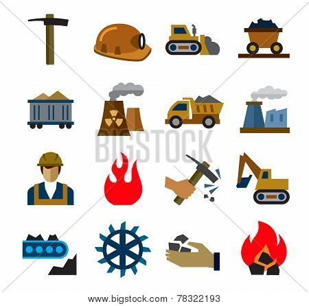 coal mining industry icons