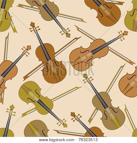 Seamless musical pattern with violin and bow.