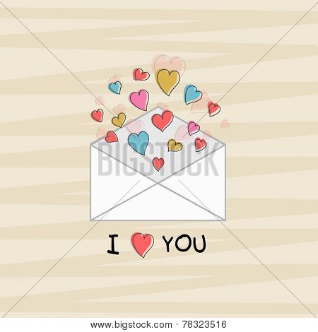 Happy Valentine's Day celebration concept with I Love You text and colorful hearts coming out from an open love envelope on stylish background.