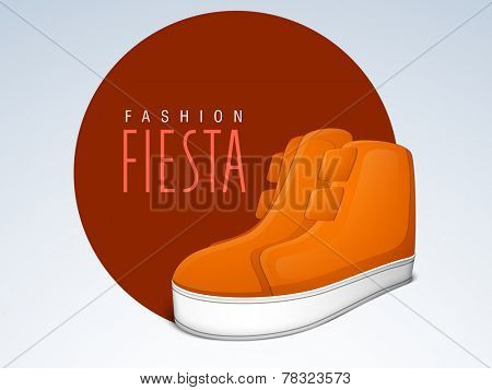 Sticker, tag or label with stylish text of Fashion Fiesta and shoe on stylish background.