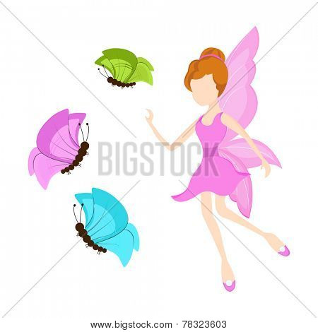 Beautiful young angel in pink dress trying to catch colorful butterflies on white background.