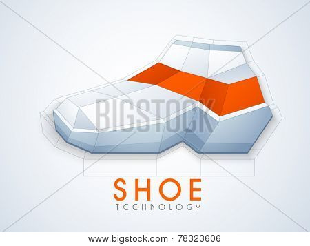 Shoes design with stylish text of Shoe Technology on stylish background.